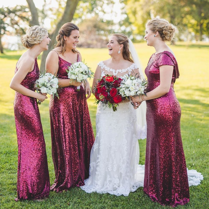 Beautiful bridesmaids in the boldest burgundy sequins.✨