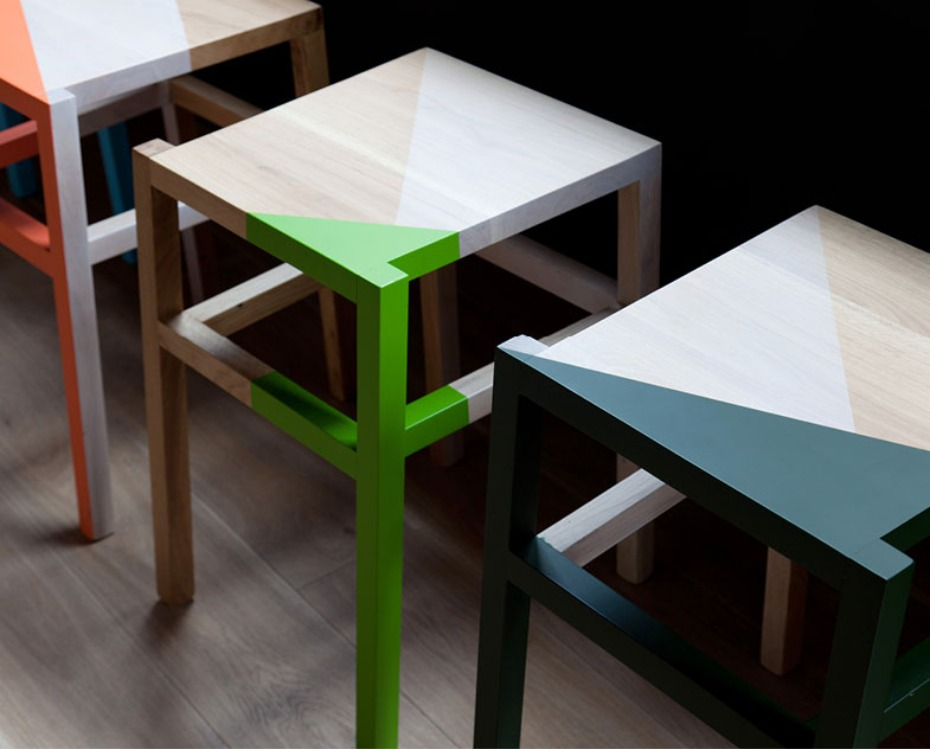 color blocked bar stools