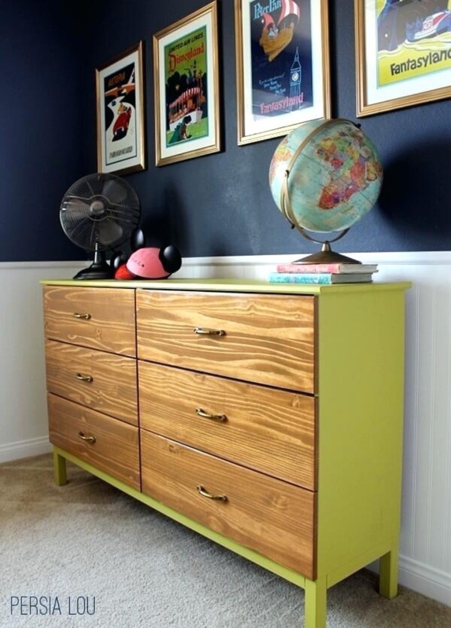 midcentury modern color blocked dresser