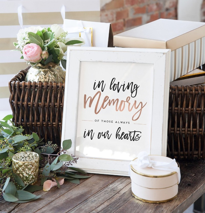 If you've lost someone close and would like to honor their memory, Miss Design Berry has a lovely In Loving Memory sign that would