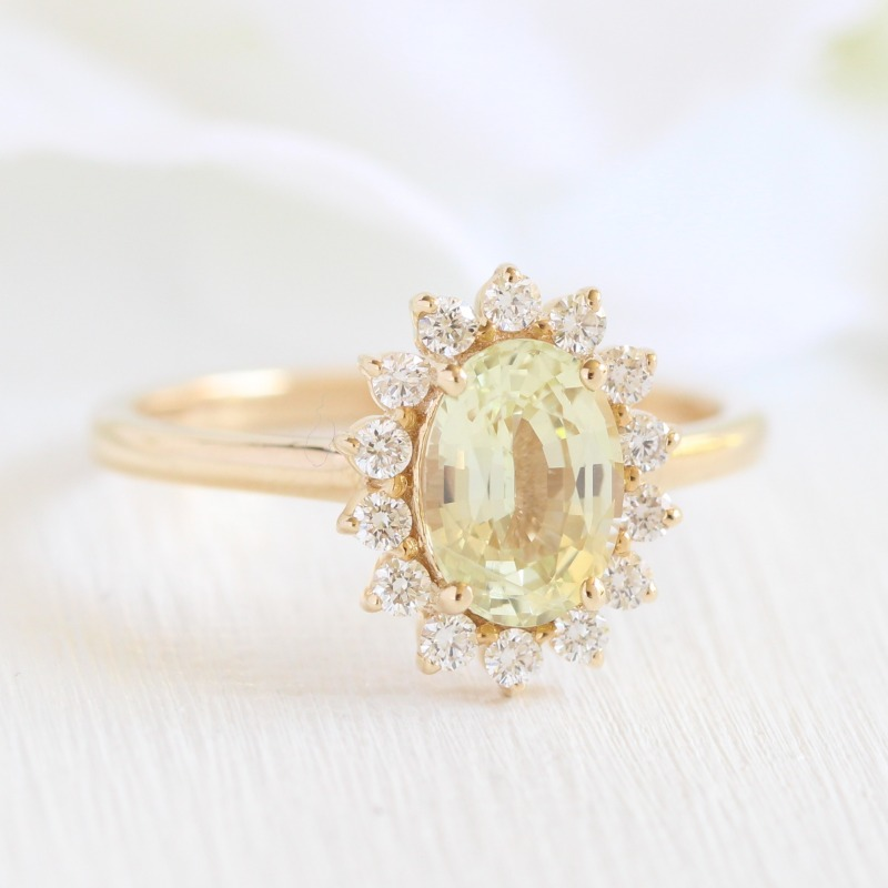 Natural Yellow Sapphire Engagement Ring in Diamond Cluster Halo and Yellow Gold Band. For the bride that loves floral designs ~ To