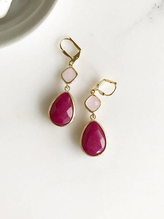 Pink Dangle Earrings. Bridesmaids Earrings with Fuchsia Teardrop and Soft Pink. Pink Drop Earrings Dangle Earrings. Bridesmaid Earrings