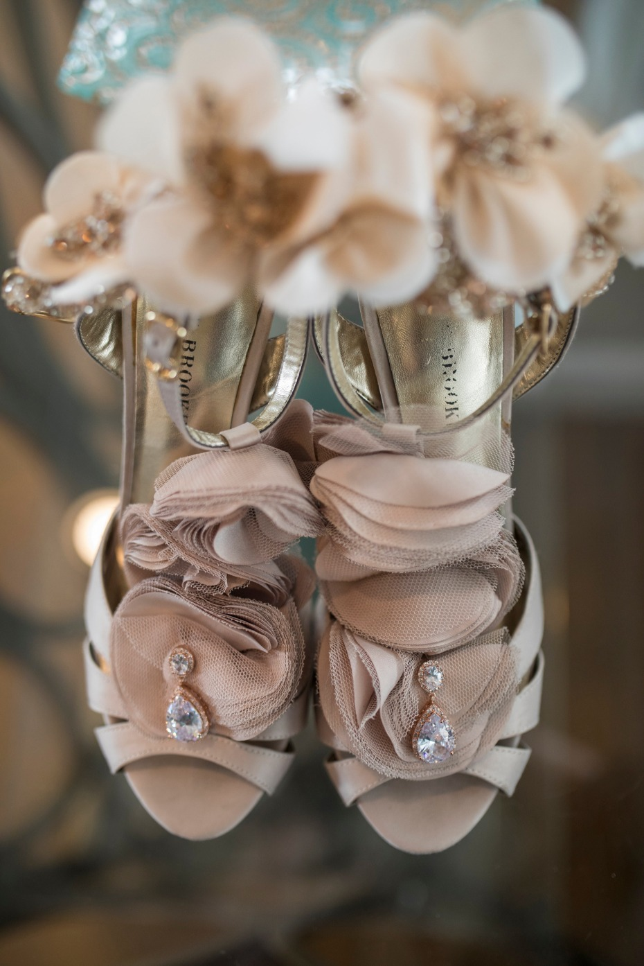 nude and glamorous wedding shoes