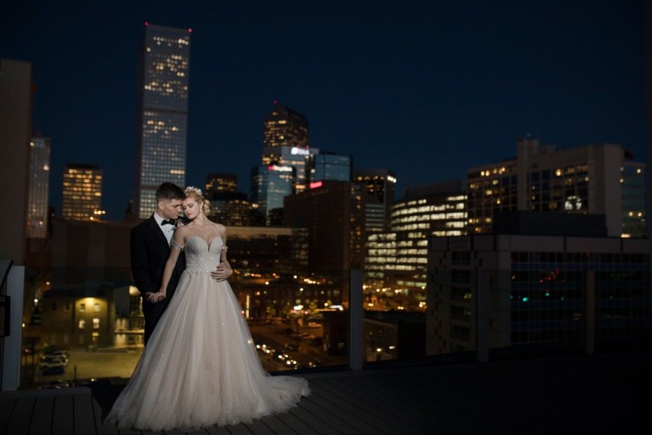 romantic rooftop wedding photos at night