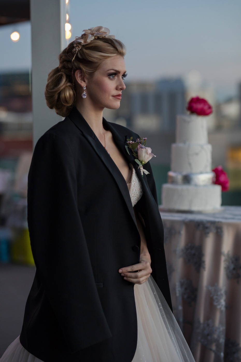bride in the grooms jacket