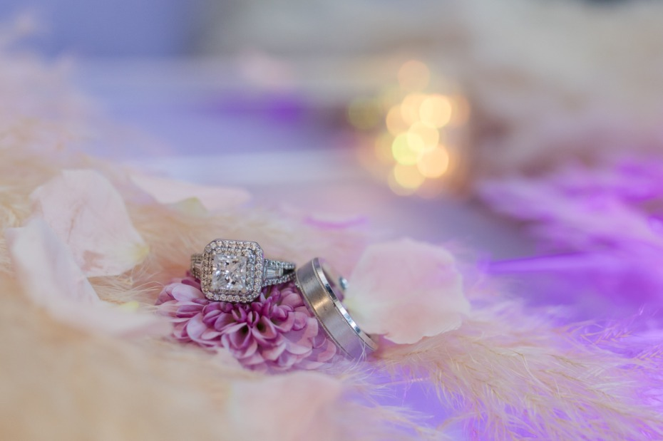 pink and glam wedding rings