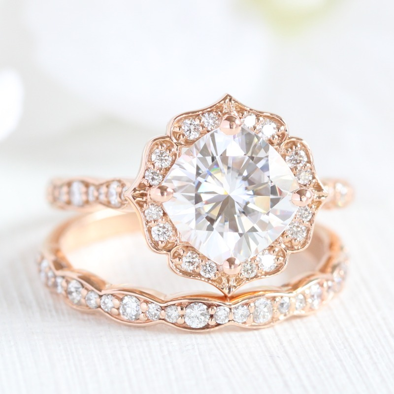 Elegant Bridal Set of Cushion Moissanite Diamond Engagement Ring in Vintage Floral design pairs beautifully with scalloped vintage