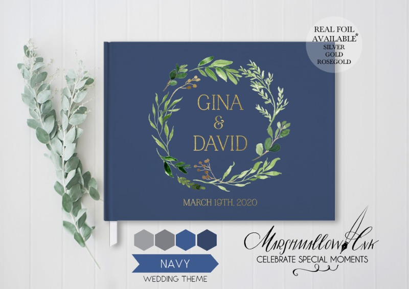 This gorgeous navy guest book can be customized with your names and date and you can choose any color to match your wedding theme.