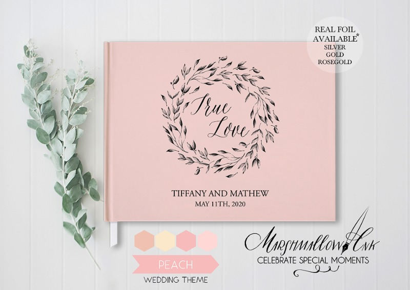 Gorgeous hardcover blush pink guest book can be customized with your names and date. Choose black or white blank pages for this premium