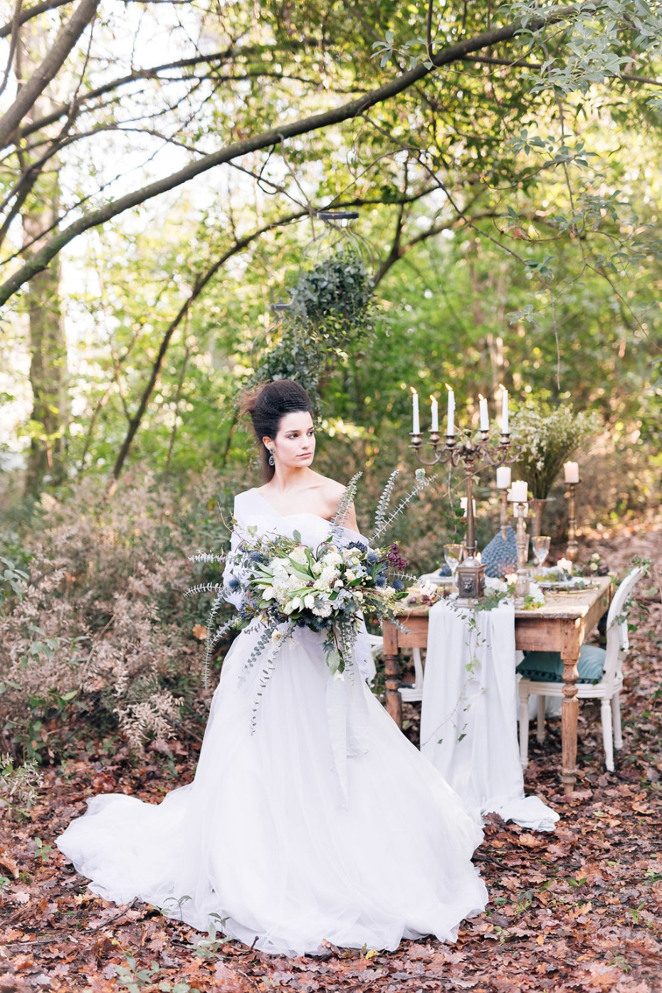 romantic wedding table in the woods
