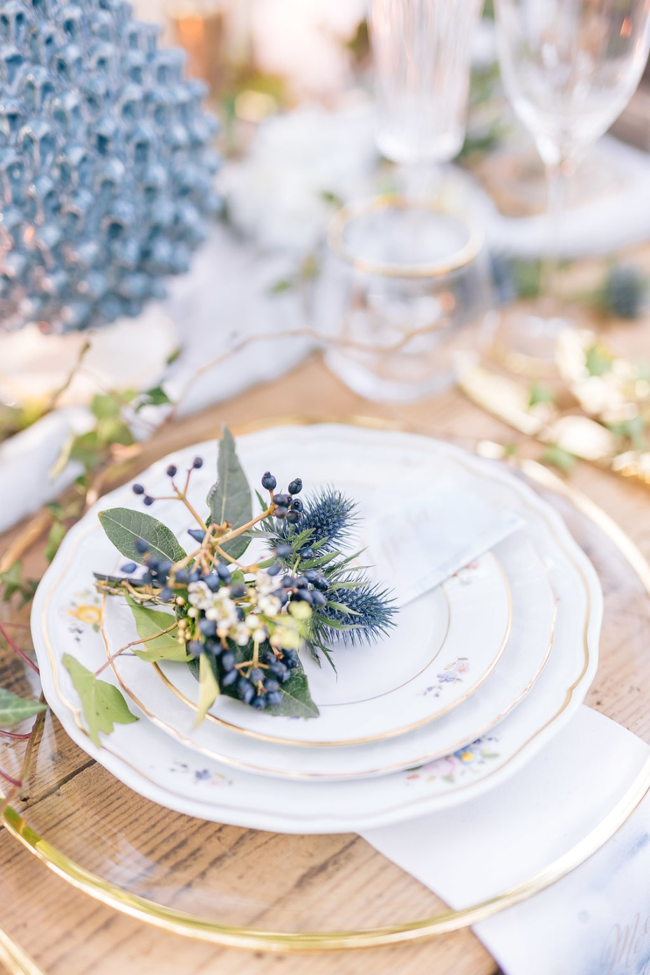 romantic and vintage wedding place setting