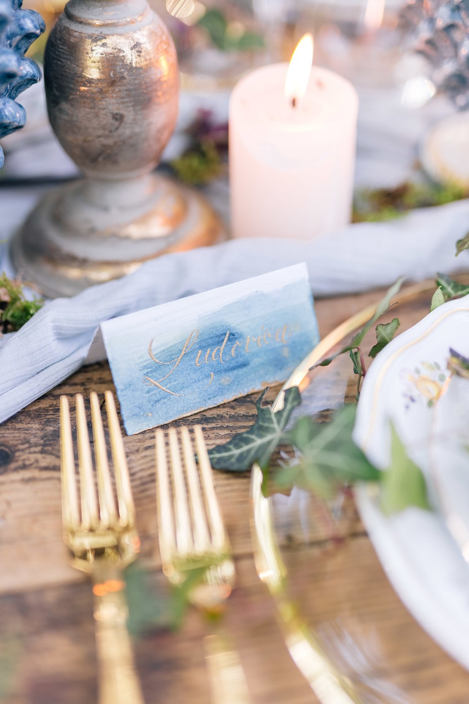 blue and gold wedding place card