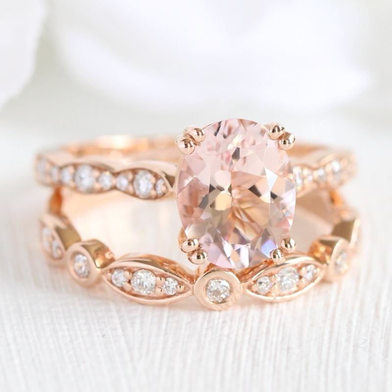 Love Solitaire Engagement Rings? You'll swoon at our Grace Solitaire bridal set collection, featuring sets like this Oval Morganite