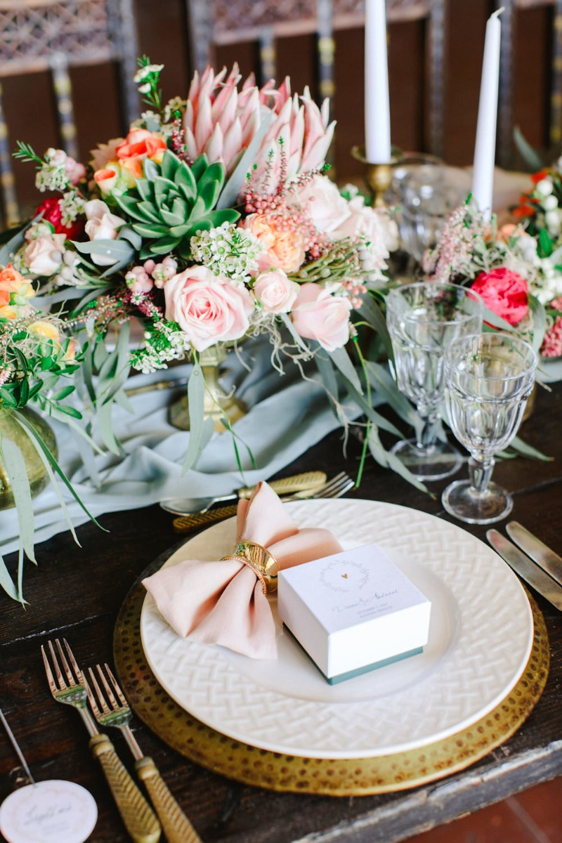 Pastel peachy colors with pops of vibrant raspberry and highlighted by bronze vintage detailing for this elegant wedding in Athens
