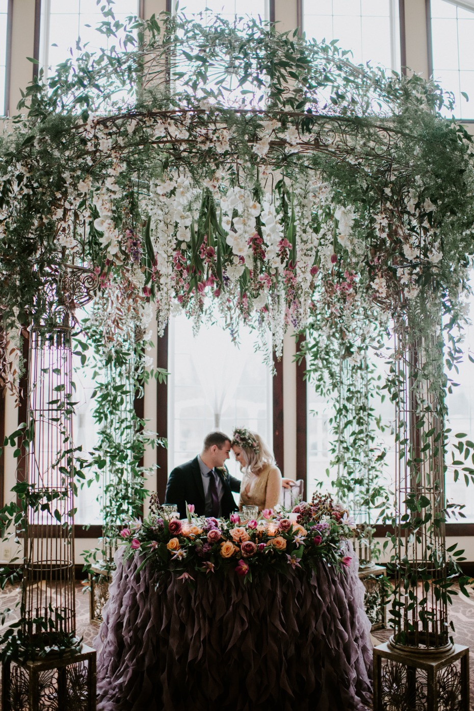 Flower arbor sweetheart table