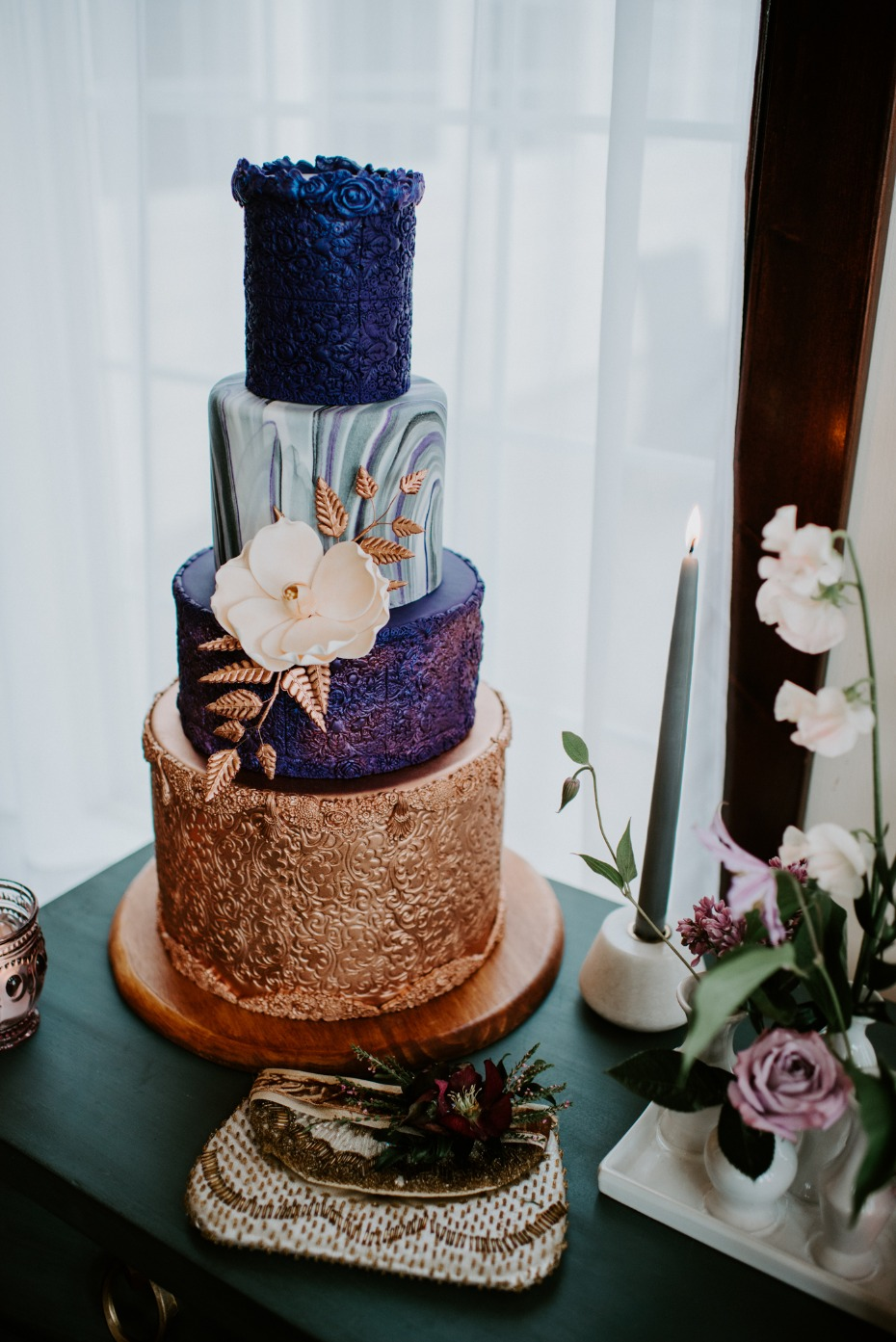Modern gold and purple wedding cake