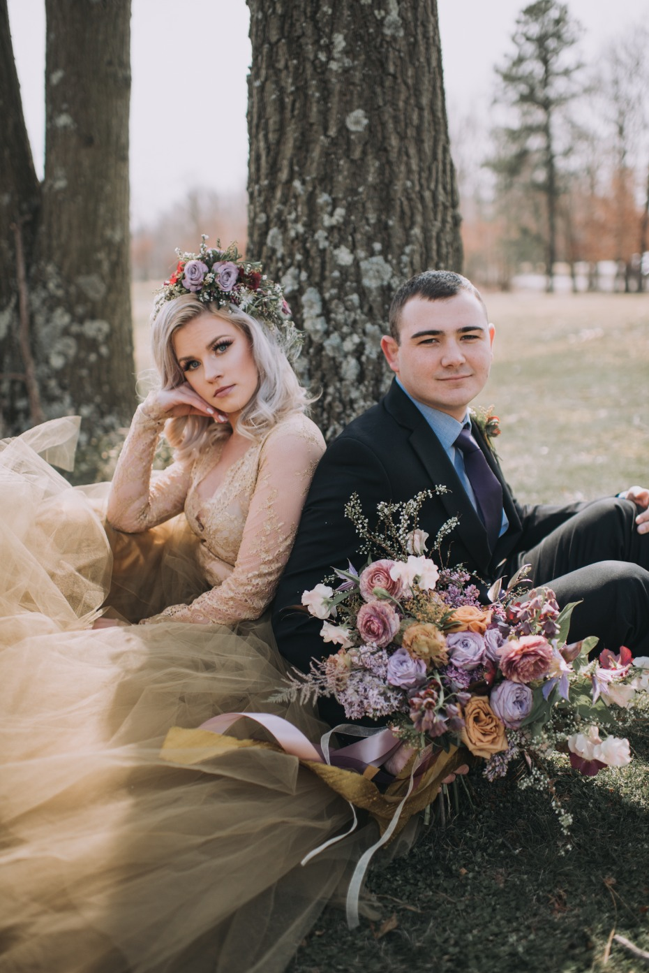 Springtime wedding inspiration in gold and lavender