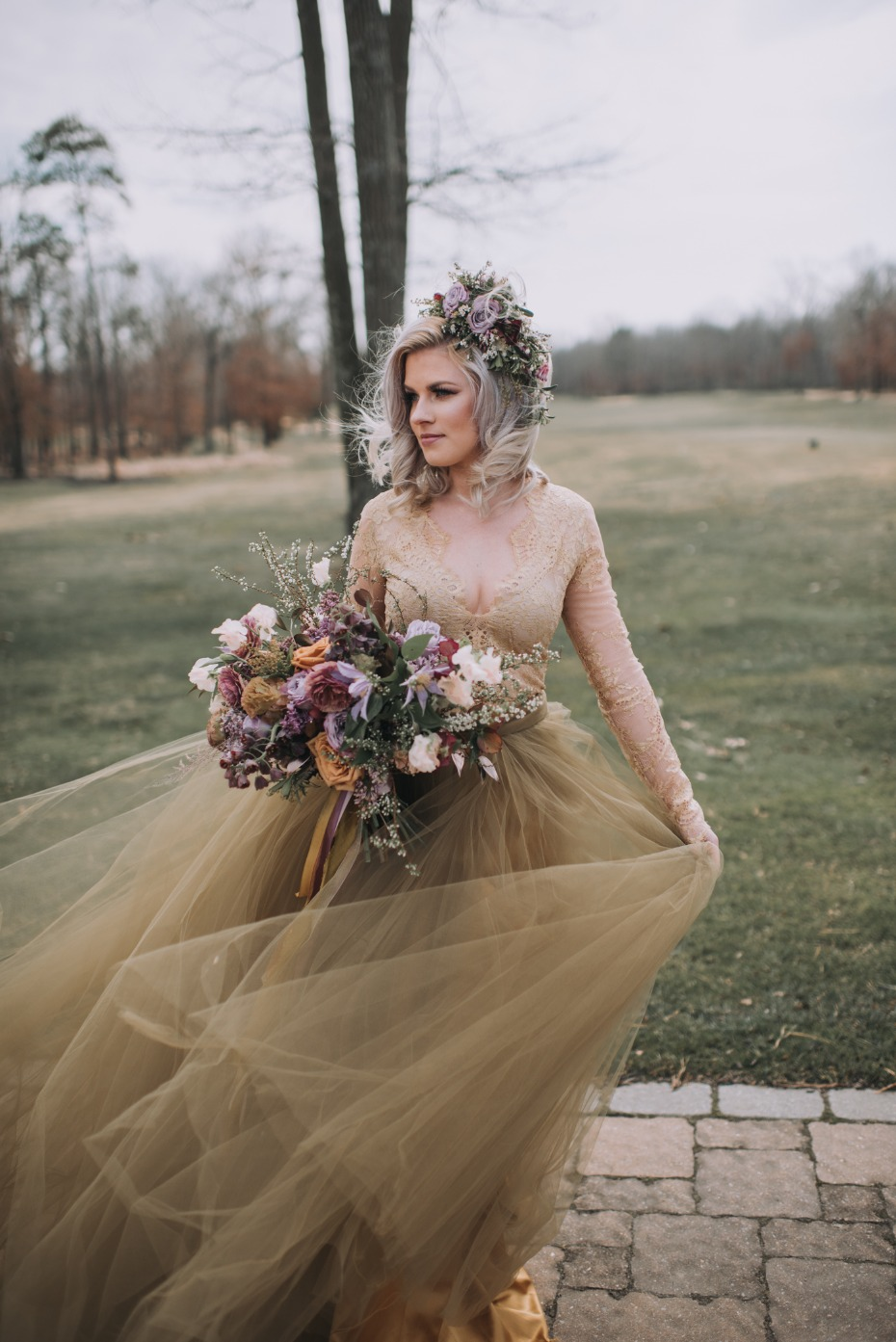 Spring rose gold wedding dress with lavender