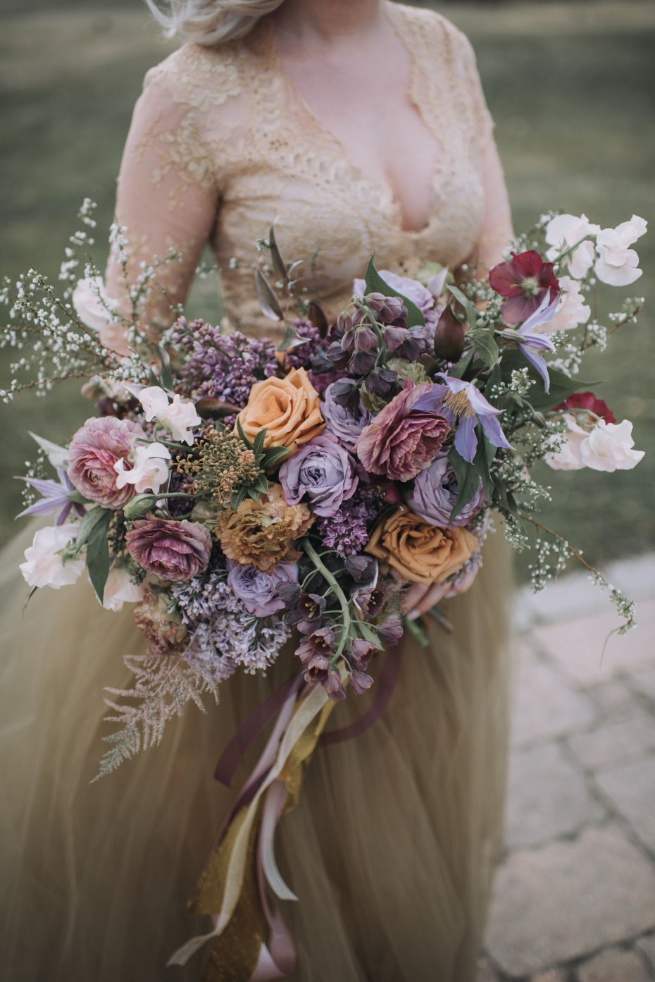 Rose gold and lavender bouquet
