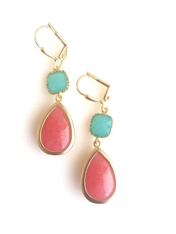 Wedding Jewerly. Coral and Turquoise Bridesmaids Earrings. Bridal Party Gift. Teal Dangle Earrings. Gold Wedding Drop Earrings.