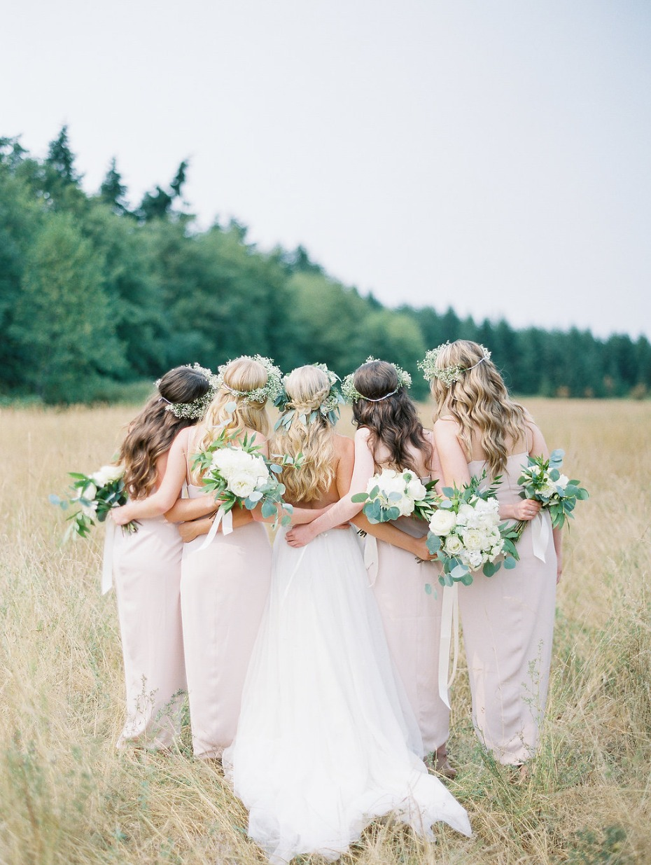 Bridesmaids and flower crowns