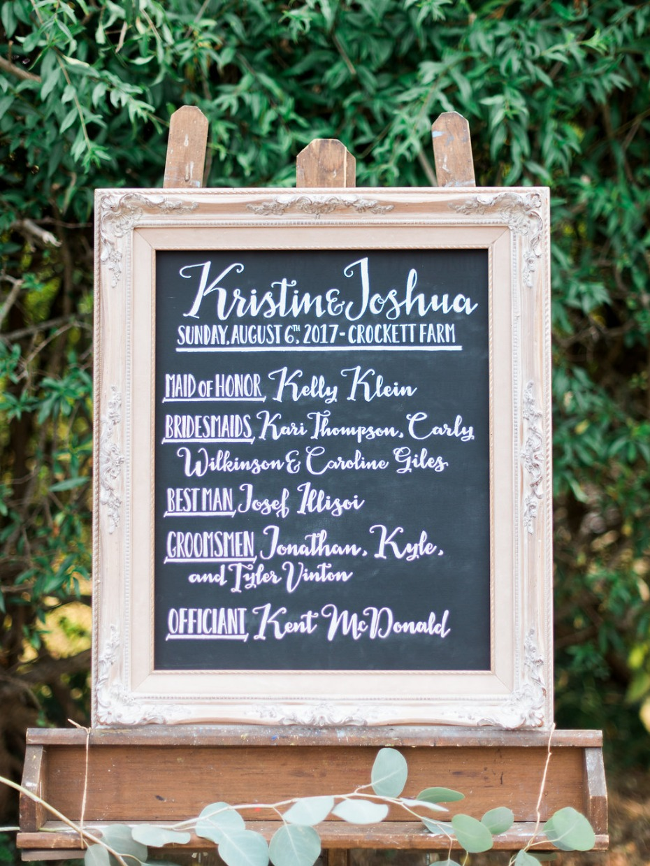 Introduce your bridal party with a cute sign