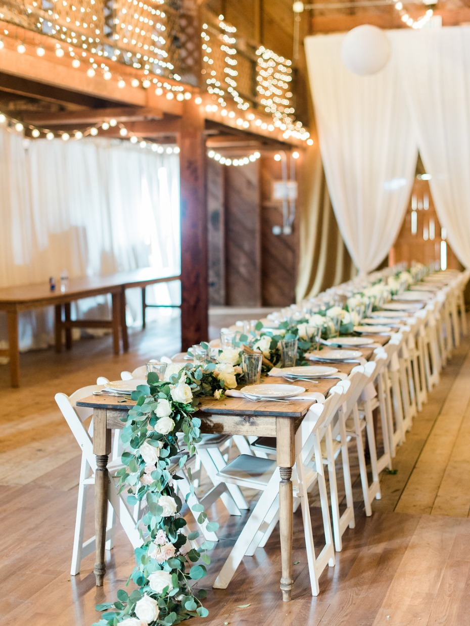 White and green barn reception