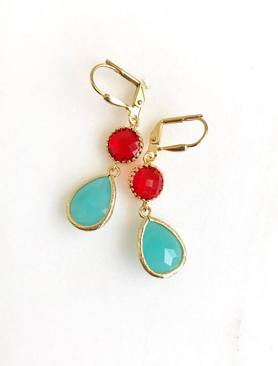 Red, aqua, and gold are paired beautifully in these elegant and stunning earrings. Alive and gorgeous, these earrings will add a beautiful