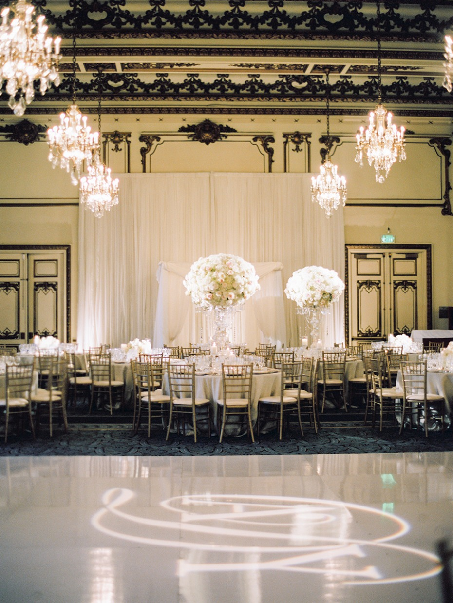 ballroom wedding reception in white and gold