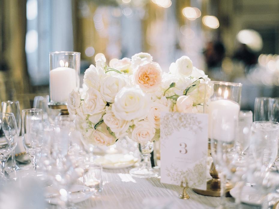 white and gold glam wedding table