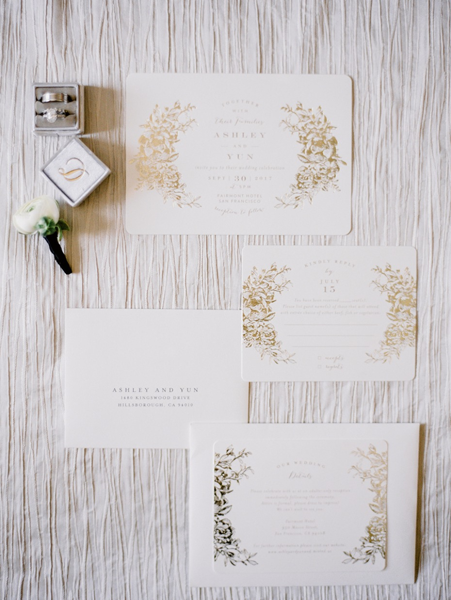 glam gold and white wedding invitations