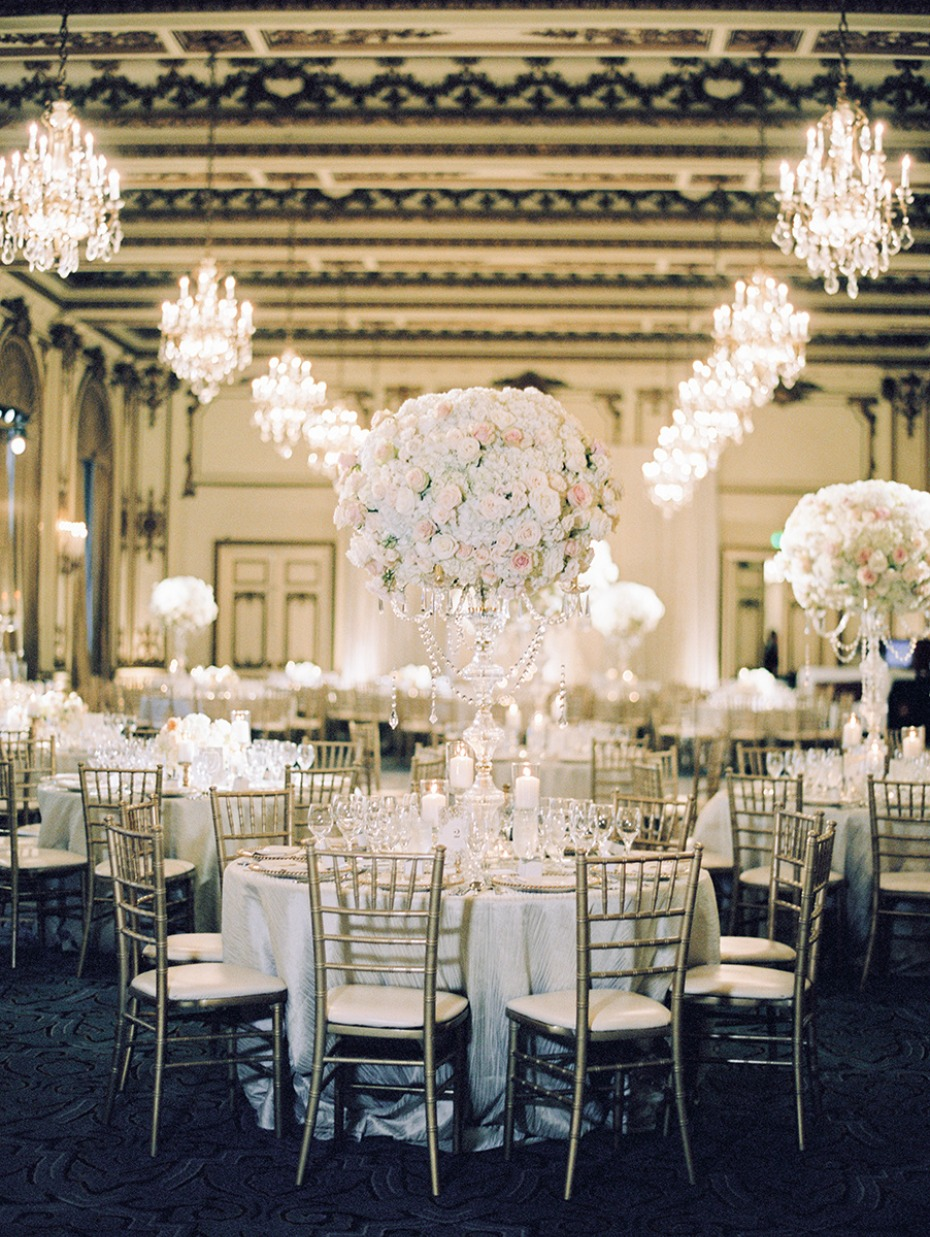the gold room ballroom glam white and gold reception
