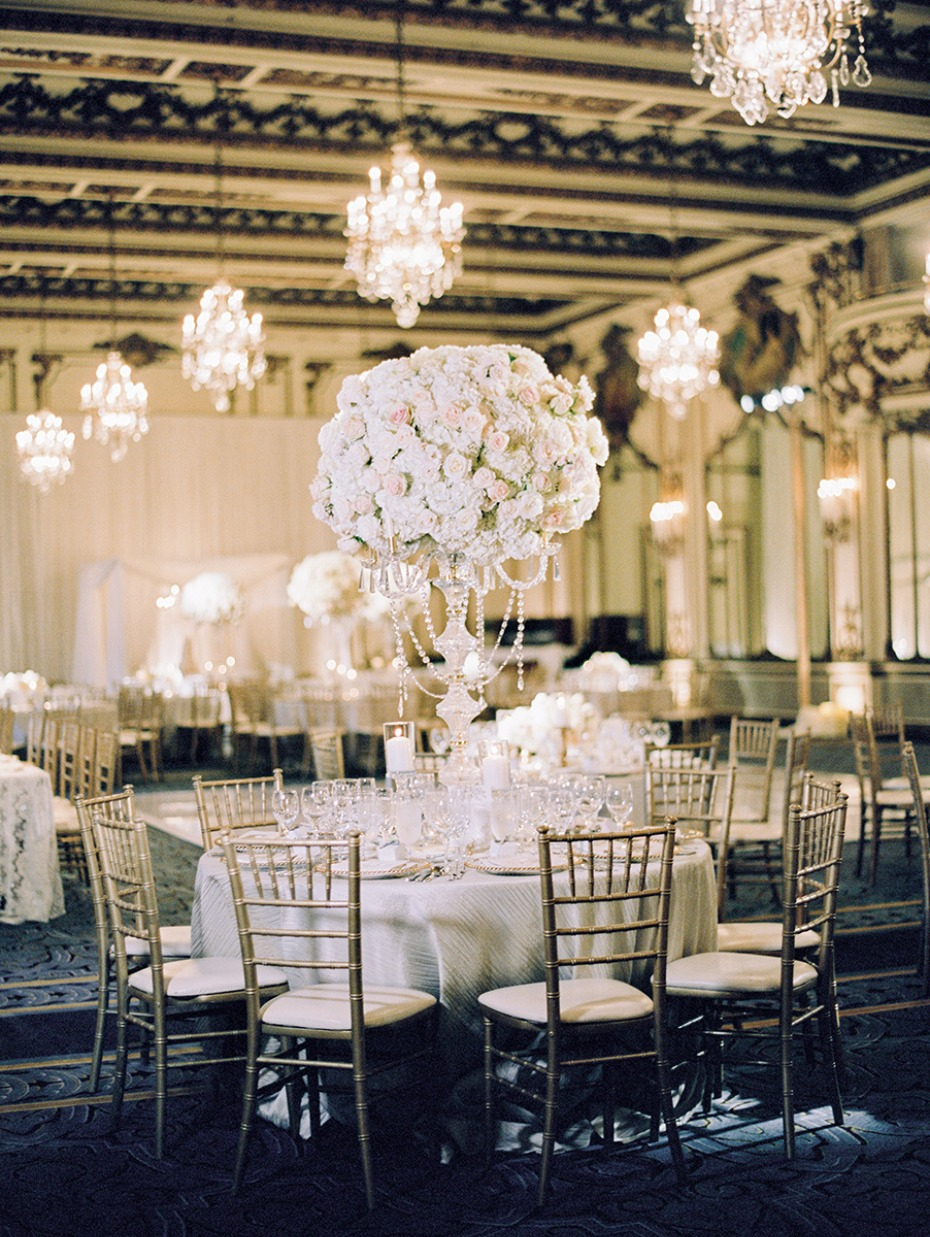 Gold and white glam ballroom wedding reception