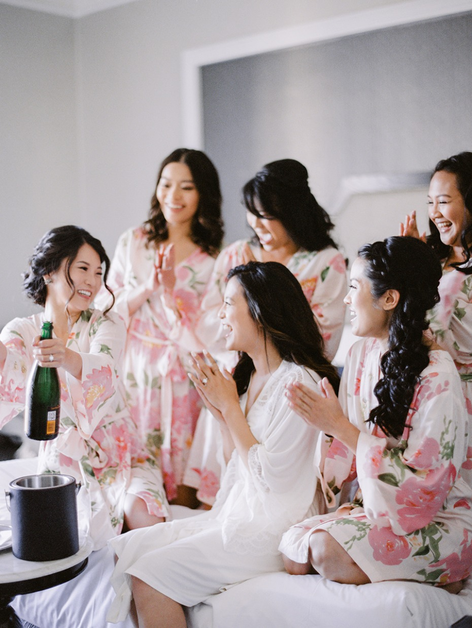 floral bridesmaid getting ready robes