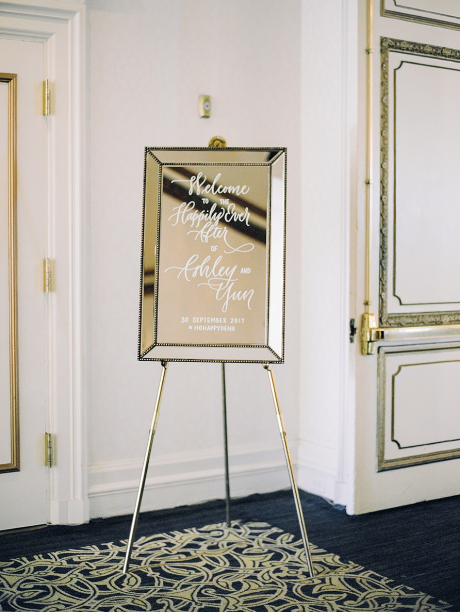 mirrored wedding sign
