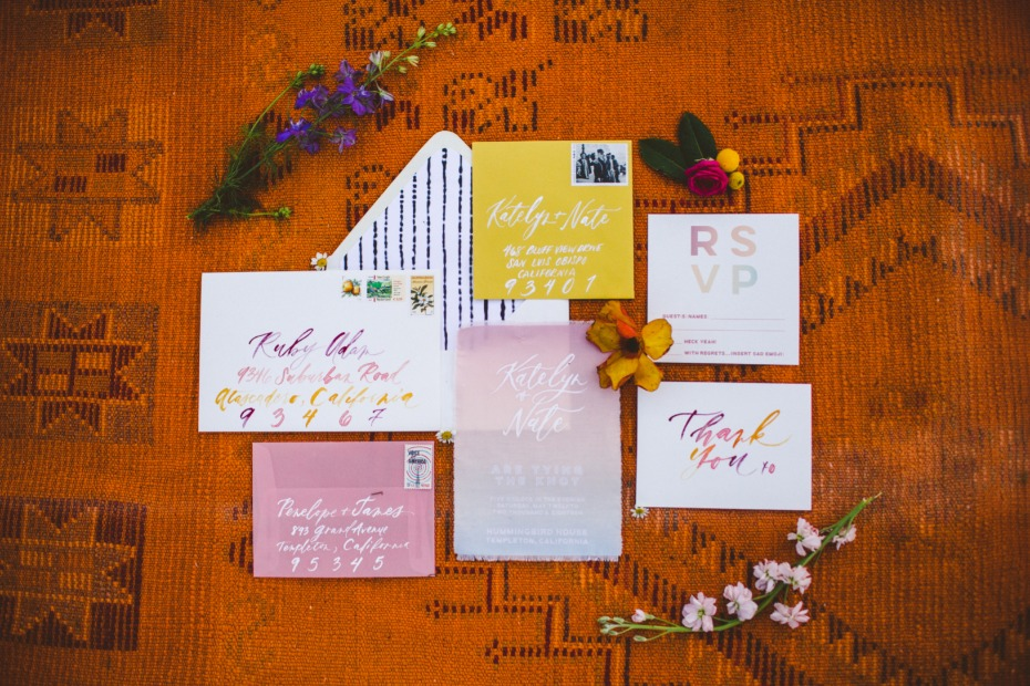 sunset color inspired wedding invites