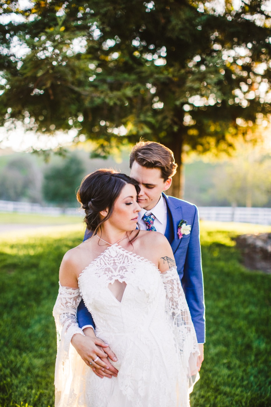boho summer wedding couple