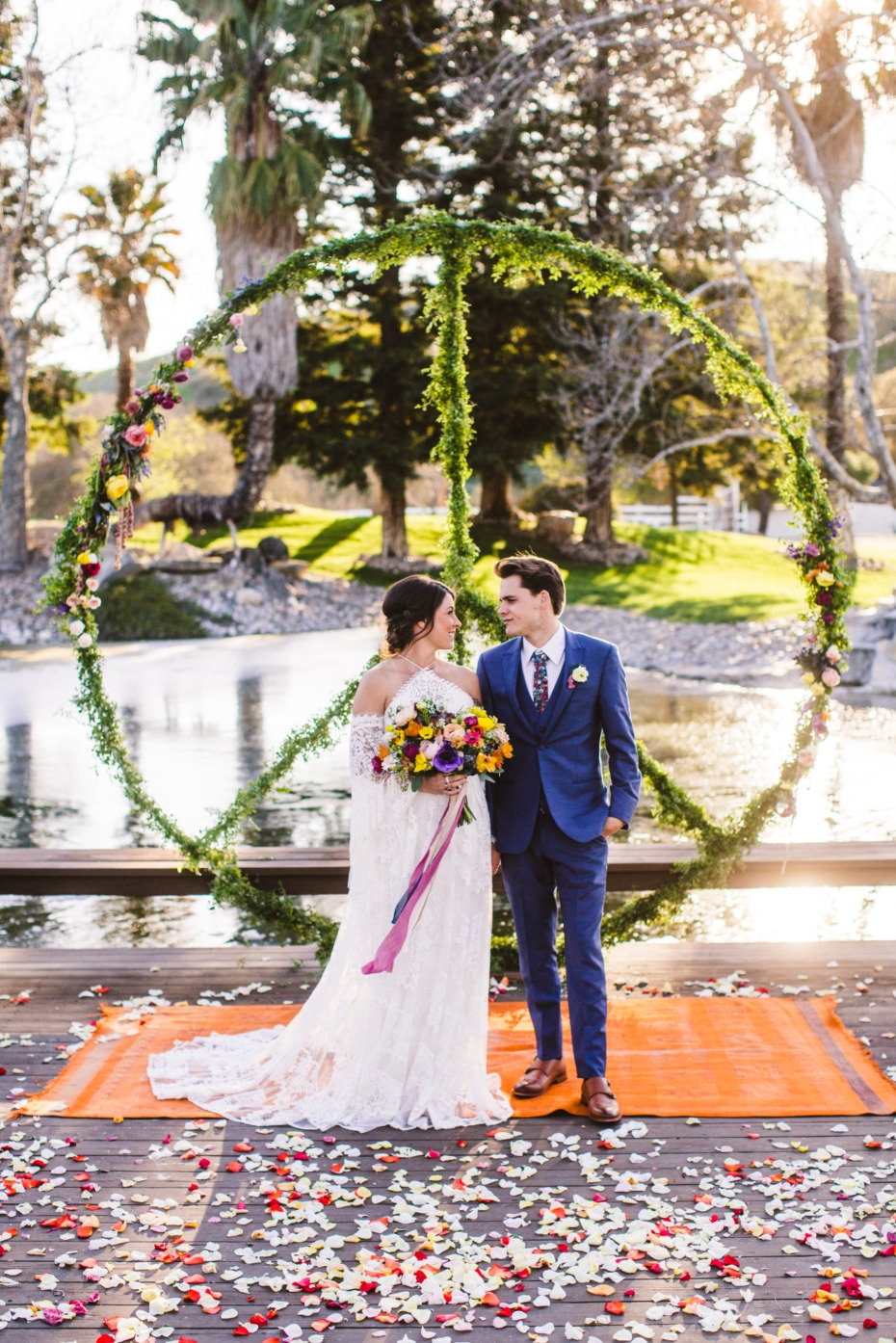 giant greenery peace sign wedding backdrop