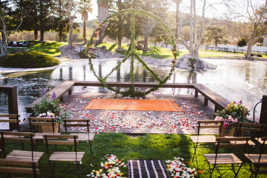 giant peace sign wedding ceremony decor