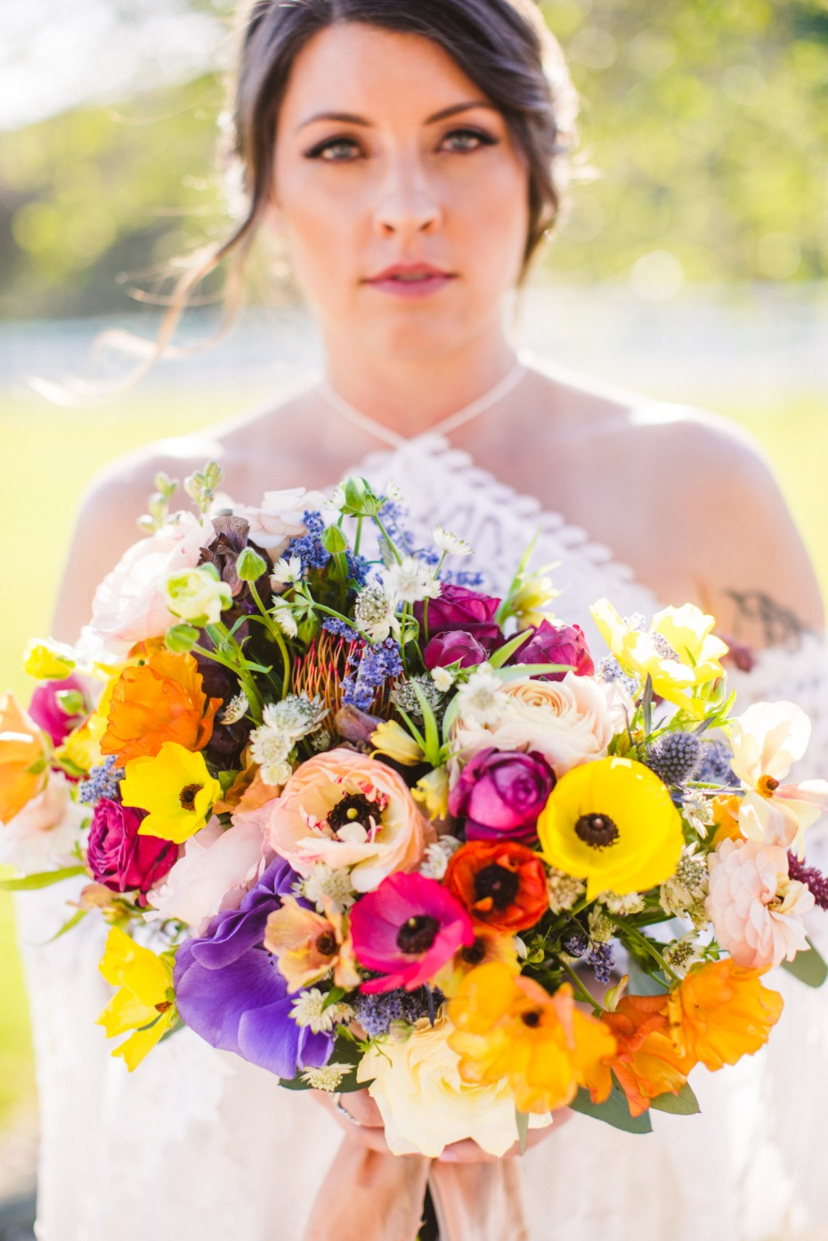 bright summer inspired wedding bouquet
