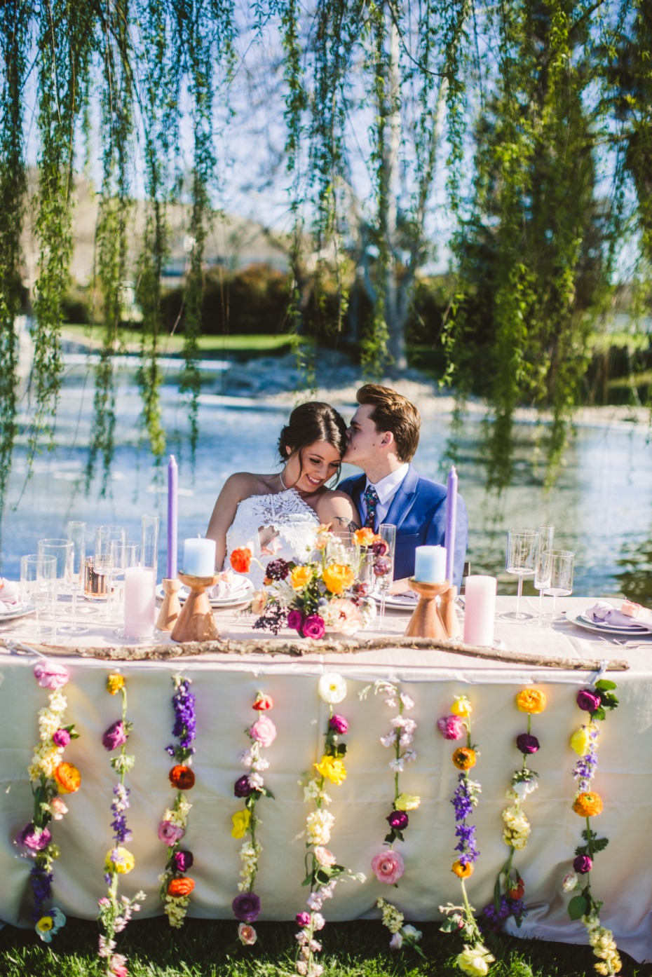 flower decor wedding sweetheart table