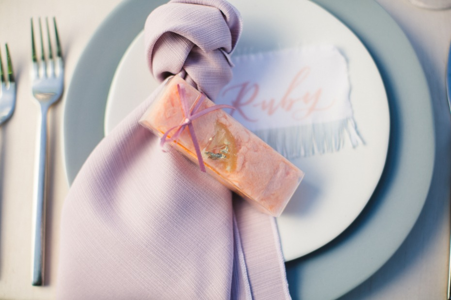 soft pink and grey wedding place setting