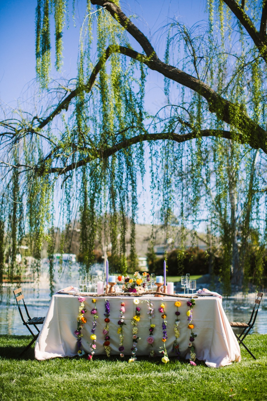 summer time wedding table decor