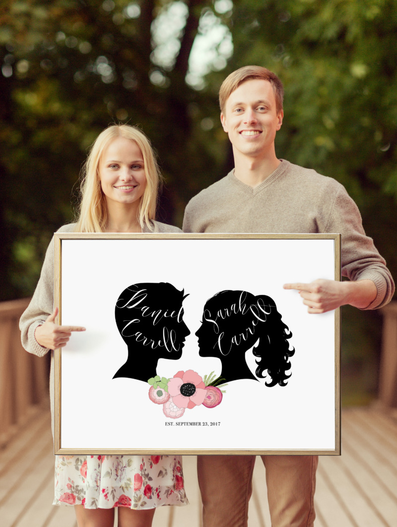 Your guest book can double as a cute save-the-date prop! Use now and on your big day your guests can sign around the custom artwork