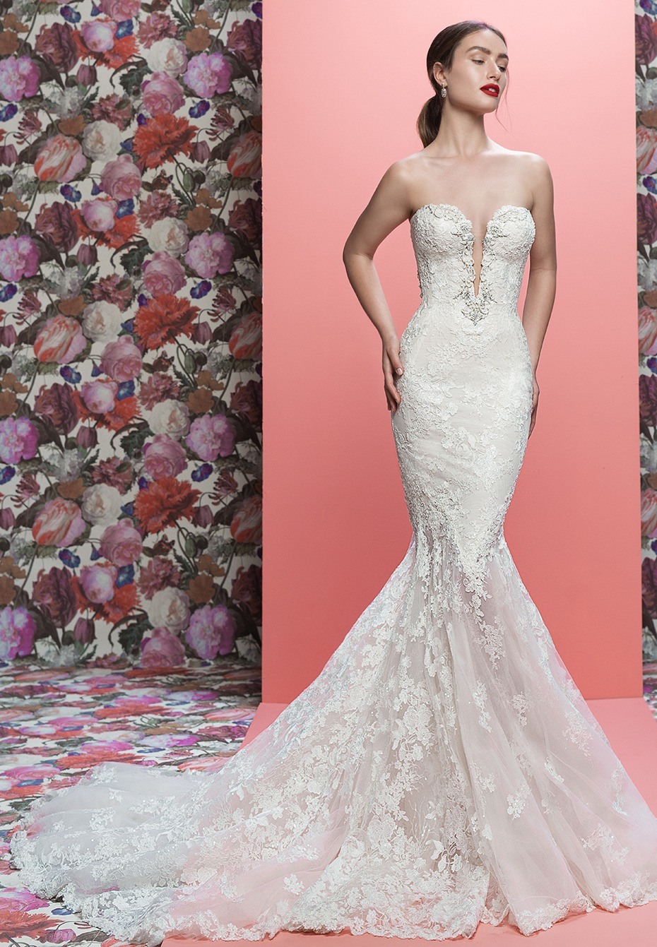 The Lorraine from Galia Lahav  - a strapless weddinggown with silver details