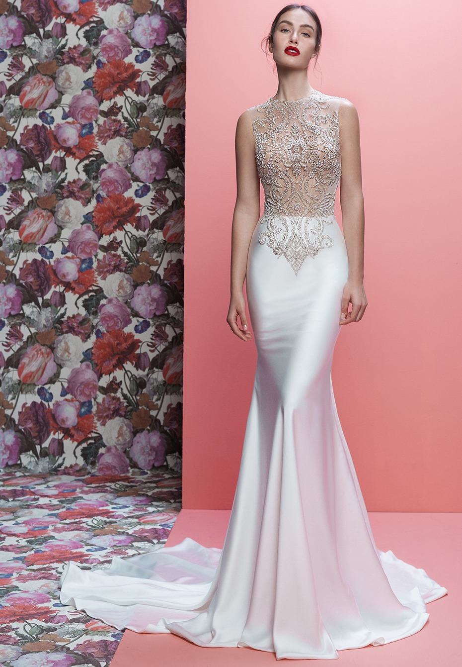 White wedding gown with intricate detail. The Emeryson by Galia Lahav