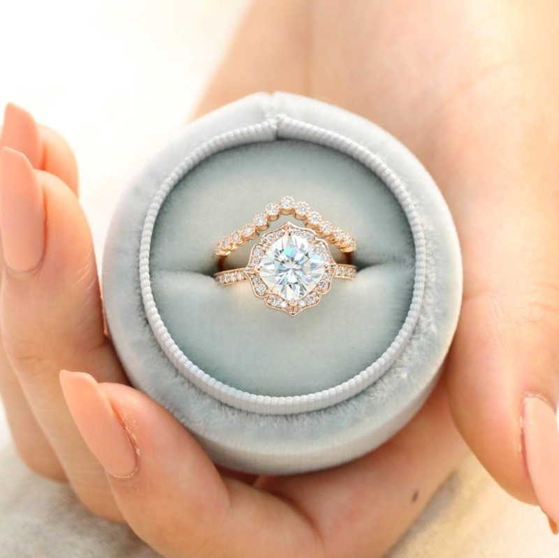Unique Bridal Set of Cushion Moissanite Diamond Engagement Ring in Vintage Floral design pairs beautifully with Curved Milgrain Diamond