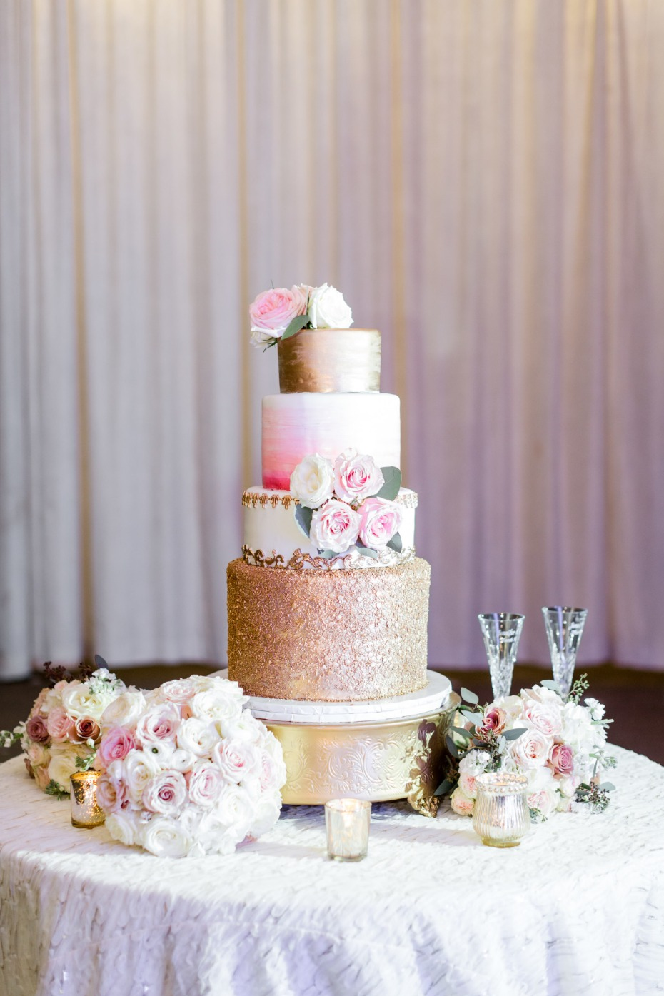 Blush, white and gold wedding cake