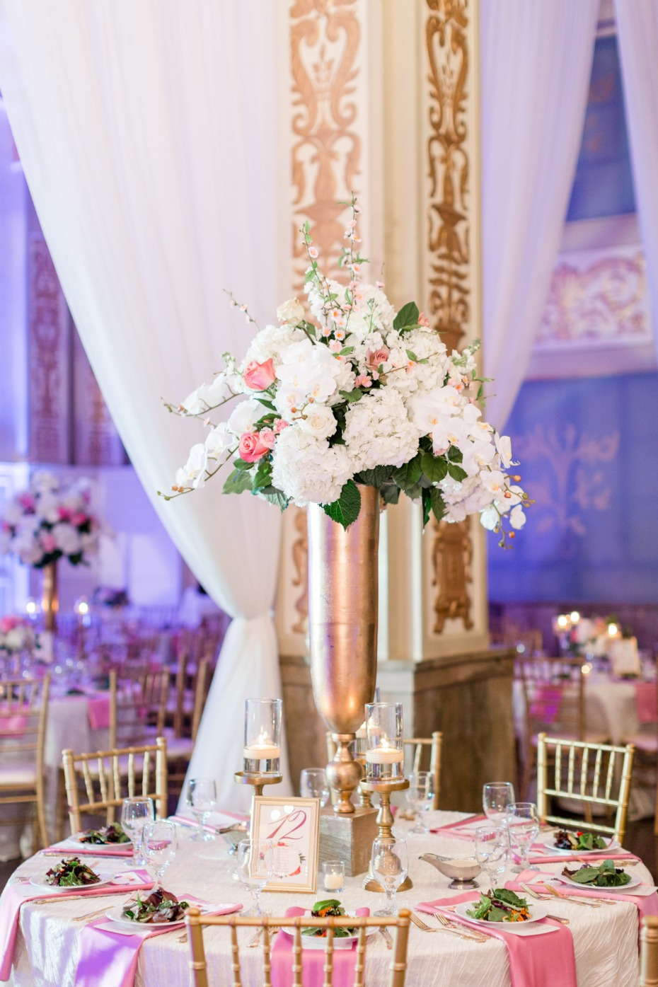 pink, gold and white reception decor