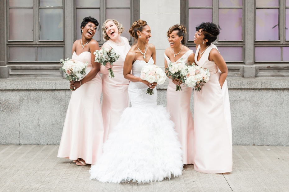 Mix and match bridesmaid dresses in blush